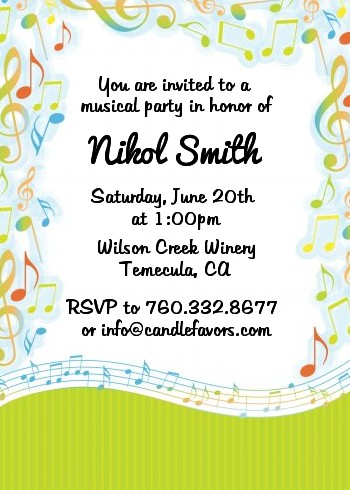 Musical Notes Colorful Birthday Party Invitations Candles and Favors