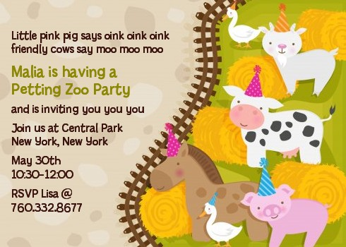 Petting Zoo Birthday Party Invitations Candles and Favors