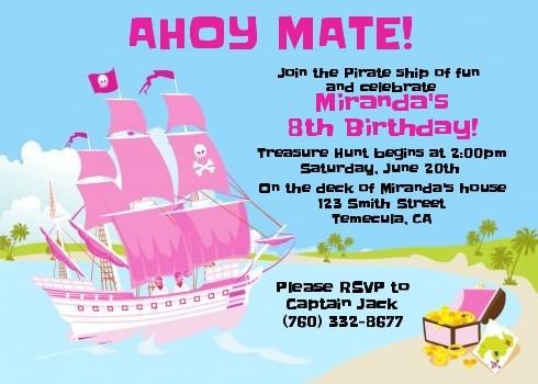 Pirate Ship Girl Birthday Party Invitations Candles and Favors - girl birthday party invitations