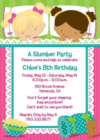 Slumber Party with Friends Birthday Party Invitations Candles and - birthday party invitations