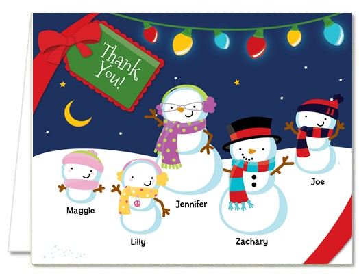 Christmas Thank You Cards Snowman Family with Lights Thank You Notes