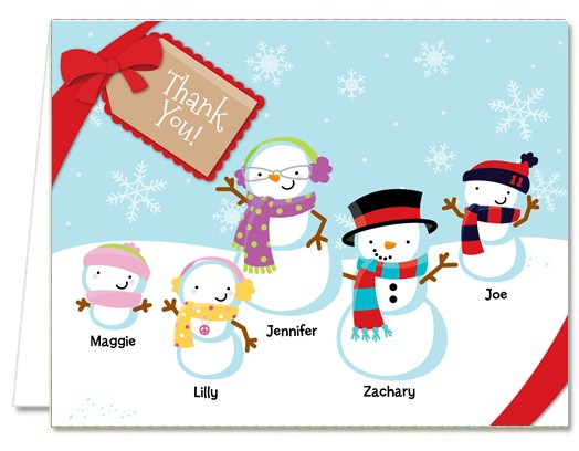 Christmas Thank You Cards Snowman Family with Snowflakes Thank You