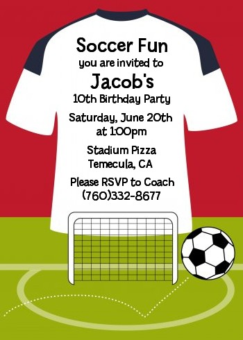 Soccer Jersey White, Red and Black Birthday Party Invitations - birthday party invitations