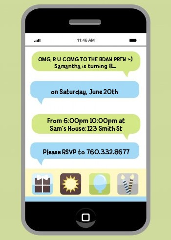 Social Media Texting Birthday Party Invitations Candles and Favors