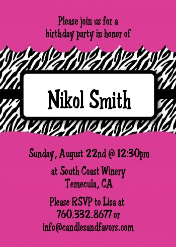 Zebra Print Pink Birthday Party Invitations Candles and Favors