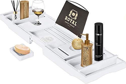 Royal Craft Wood Bamboo Bathtub Caddy Tray With Wine And