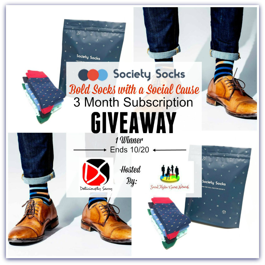 Society Socks: Bold Socks With a Social Cause 3-Month Subscription #Giveaway Ends 10/20