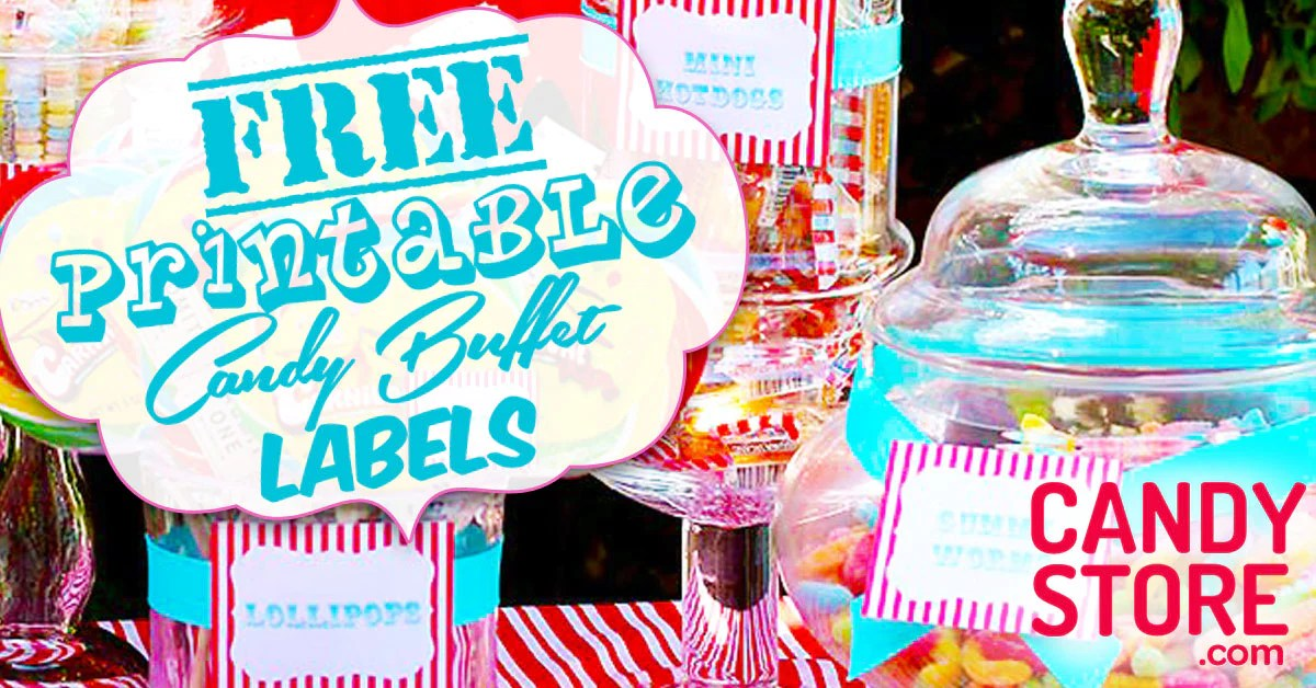 12 Customizable Candy Buffet Labels - CandyStore