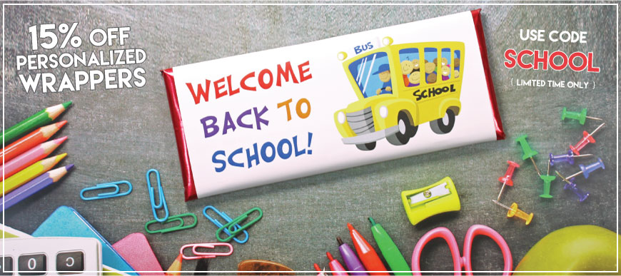 Welcome back to school savings on personalized candy wrappers