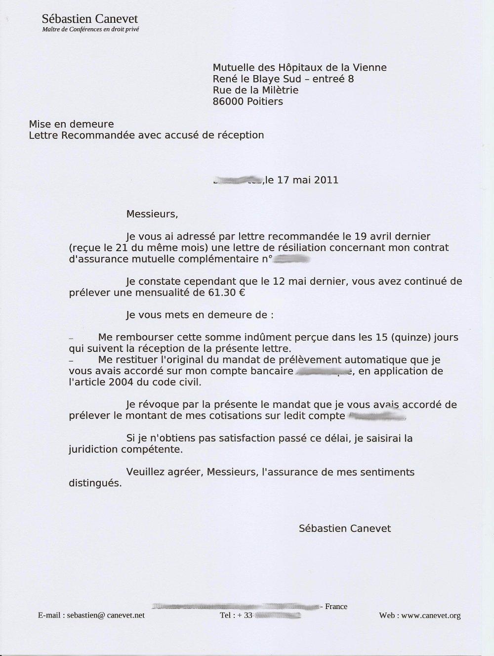 exemple lettre resiliation mgel exemple de lettre
