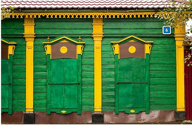 Colorful old Irkutsk house