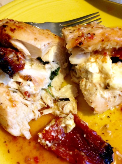 chicken stuffed with spinach, feta and tomatoes 2-cut