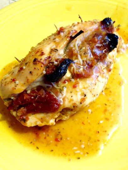 chicken stuffed with spinach, feta and tomatoes