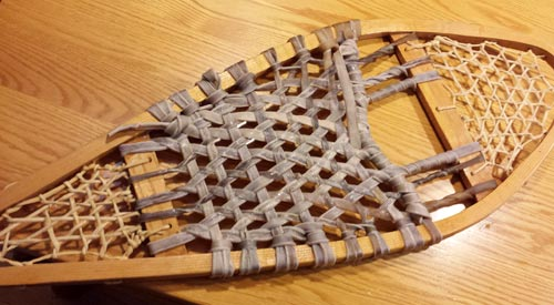 Here's the footbed still damp from stringing. It will lighten a little as it dries.