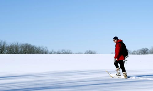Walking across an open prairie in 2 feet of snow. No problem.