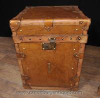 Pair Vintage Steamer Trunk Luggage Boxes Side Tables ...