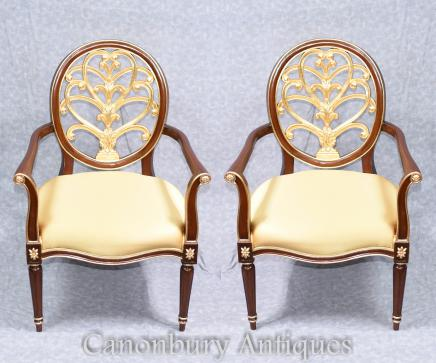 Pair French Empire Arm Chairs Accent Fautueil