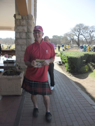 Golfer in Scottich attire at the SCC ERPM Men's Day on 2 July 2013
