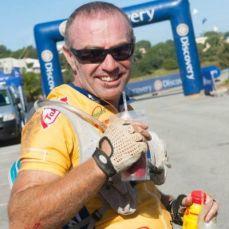 Danny Aaron cycling with Gary Aaron