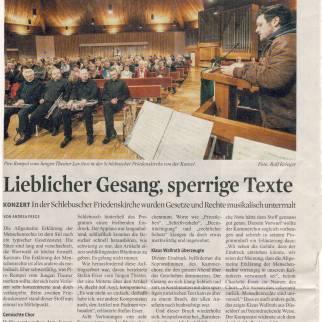 Artikel Kölner Stadtanzeiger, Friedenskonzert