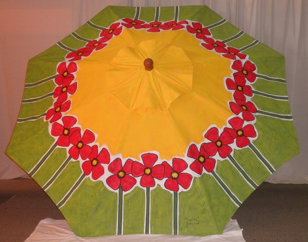 "Hand Painted Market Umbrella ""Poppies"" $759"