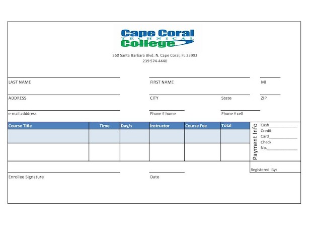 Evening Class Enrollment Form \u2013 Cape Coral Technical College