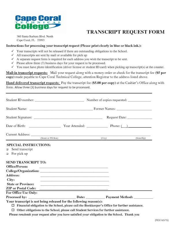 Transcript Request Form \u2013 Cape Coral Technical College