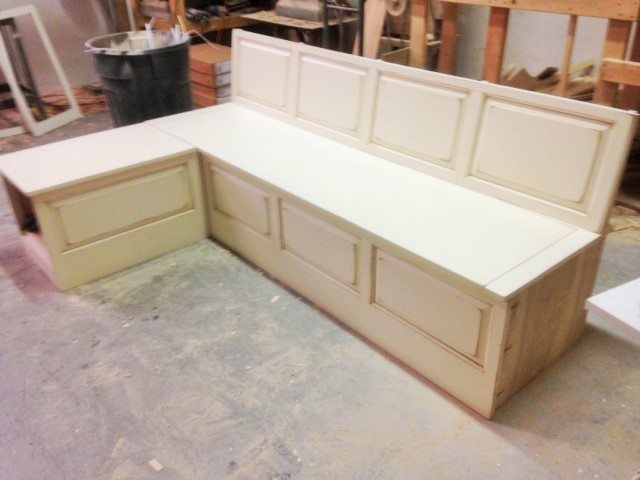 Custom Bench With Distressed Finish Capital Kitchen Refacing