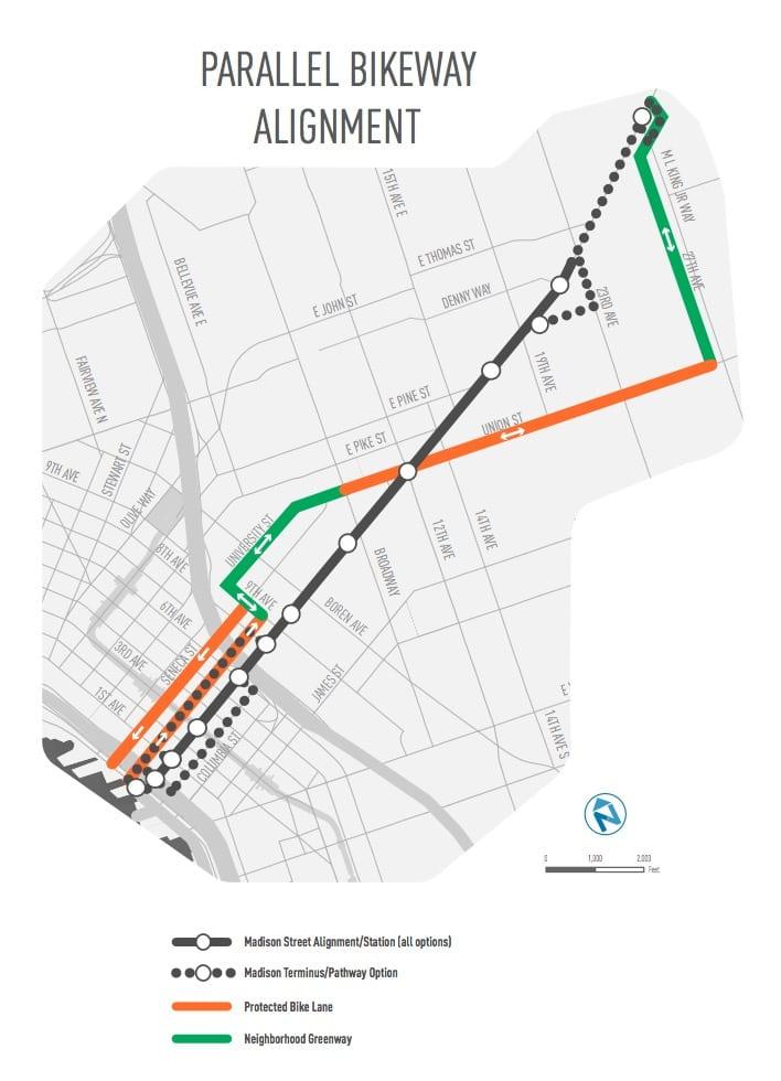 Madison BRT, now RapidRide G, rounding out pedestrian