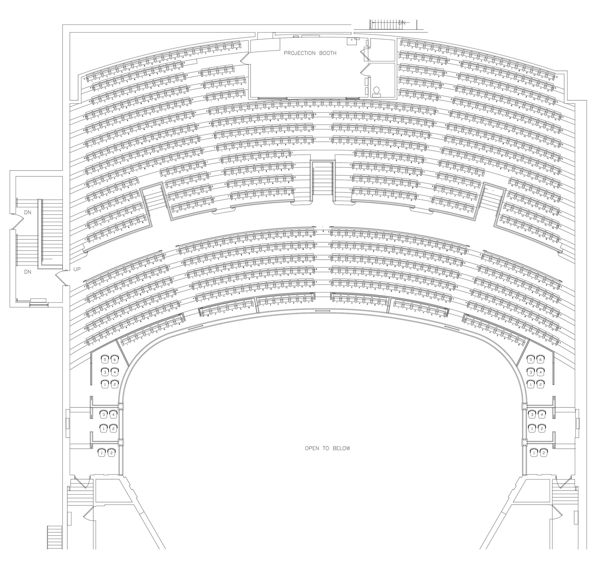 diagram of seating at theater wv grandview