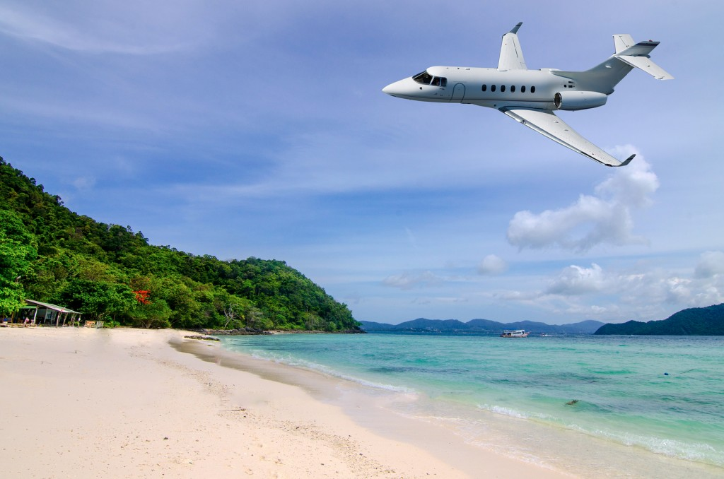 Private jet is arriving tropical resort in the morning
