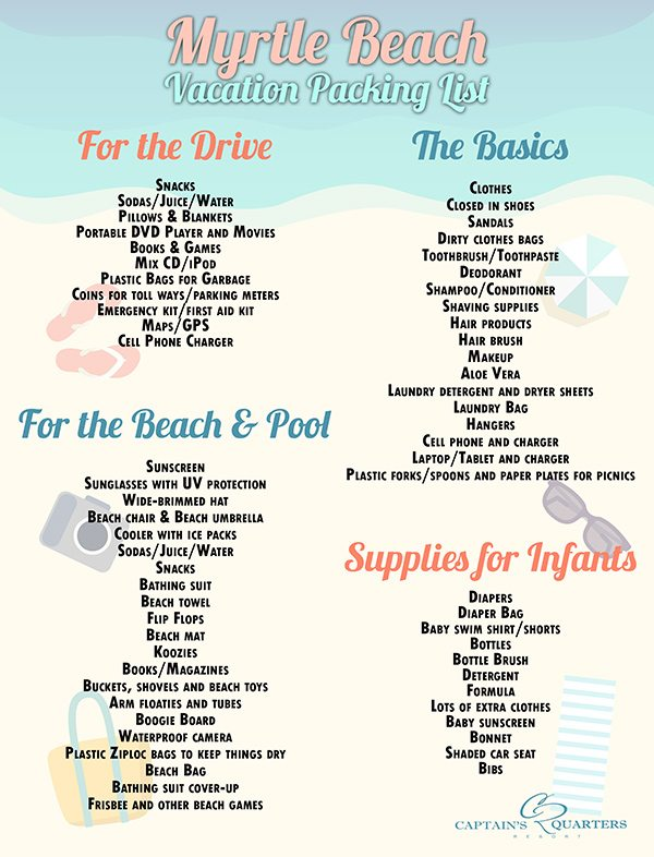 Family Vacation Myrtle Beach Packing List - packing list
