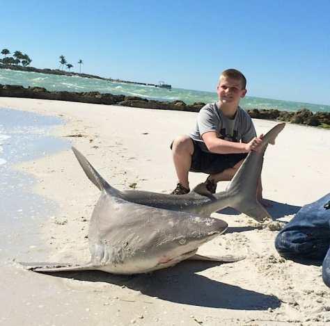 Cole & Big Sandbar Shark, Redfish Pass, North Captiva, 2-18-14, Sanibel & Captiva Islands & Fort Myers Charters & Fishing Guide Service.