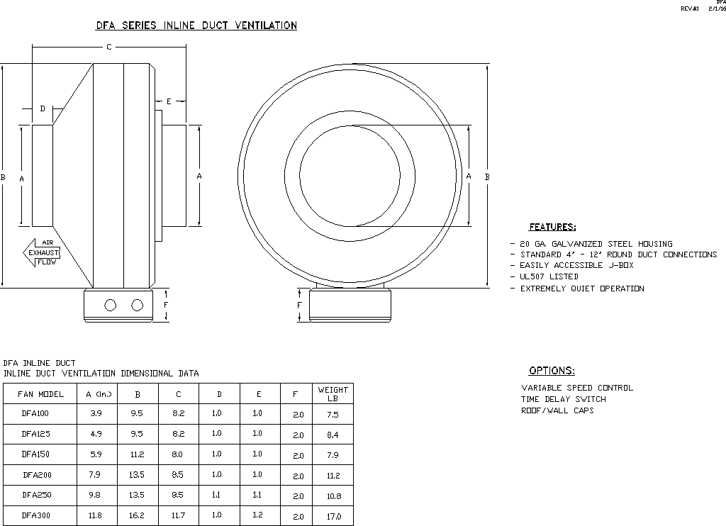 Inline Duct Fan Submittal Drawing