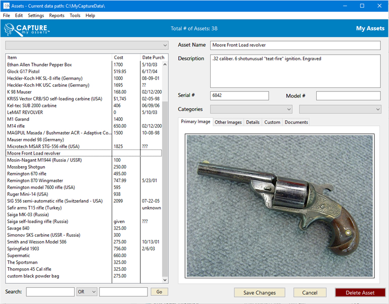 Capture My Assets - Home inventory software, software for collectors