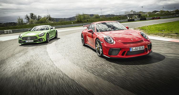 MERCEDES AMG GT R vs PORSCHE 911 GT3 COP