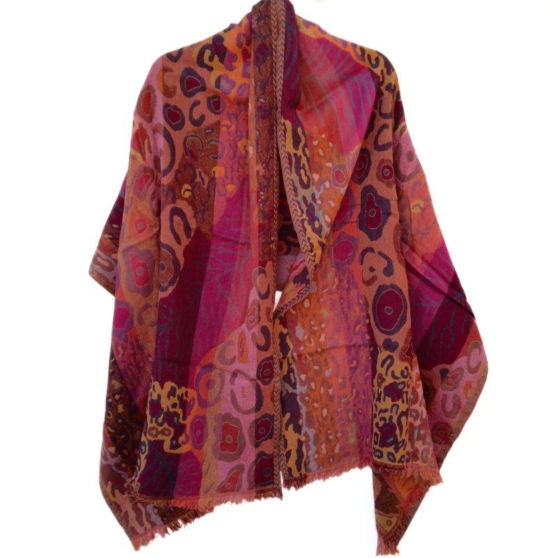 Peachy Klimt Merino Wool Shawl