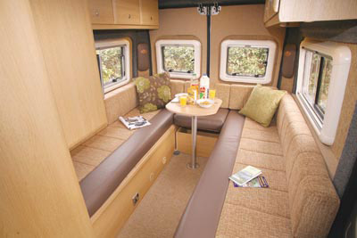 Lounge area in the Cub motorhome