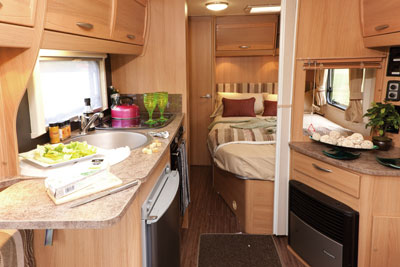Elddis Xplore 540 bedroom from kitchen