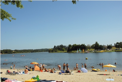A view of the beach by the lake on a sunny day
