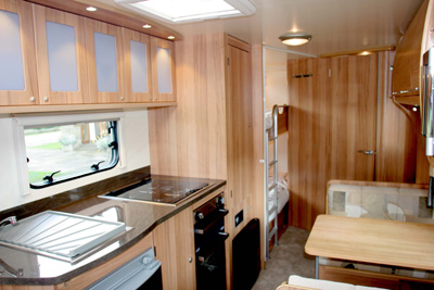 Bailey Olympus 2 kitchen, dinette, bunks and door to shower room