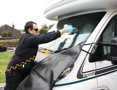 injecting resin motrohome windscreen