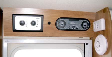 Swift Sprite Alpine 4 berth caravan control panel