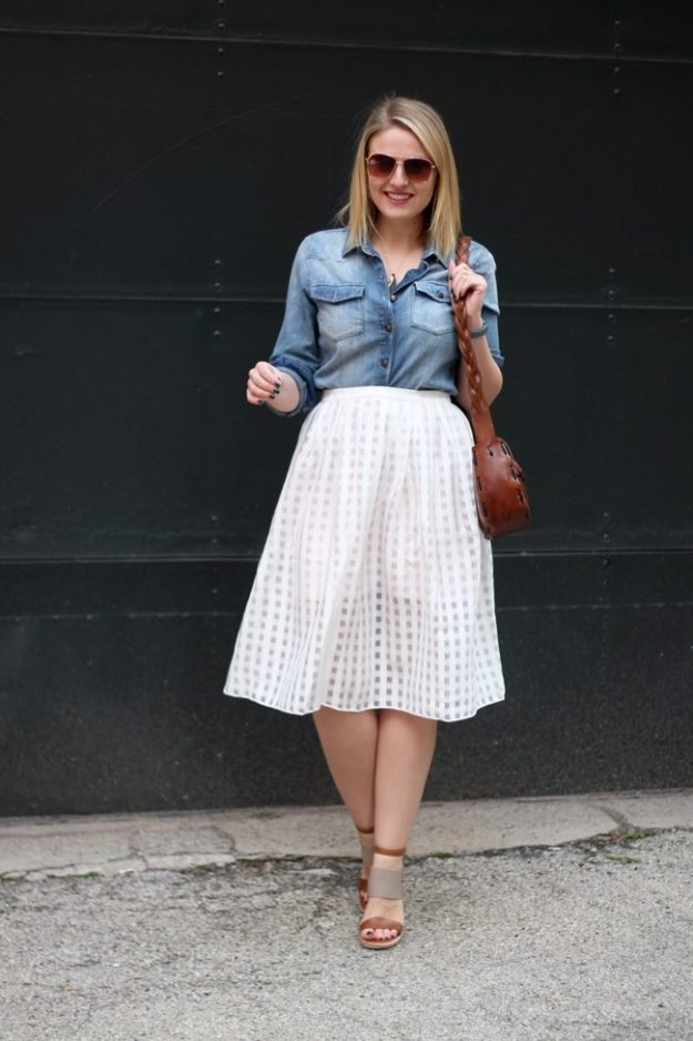 grid print, chambray shirt & midi skirt, midi skirt, chambray, denim shirt
