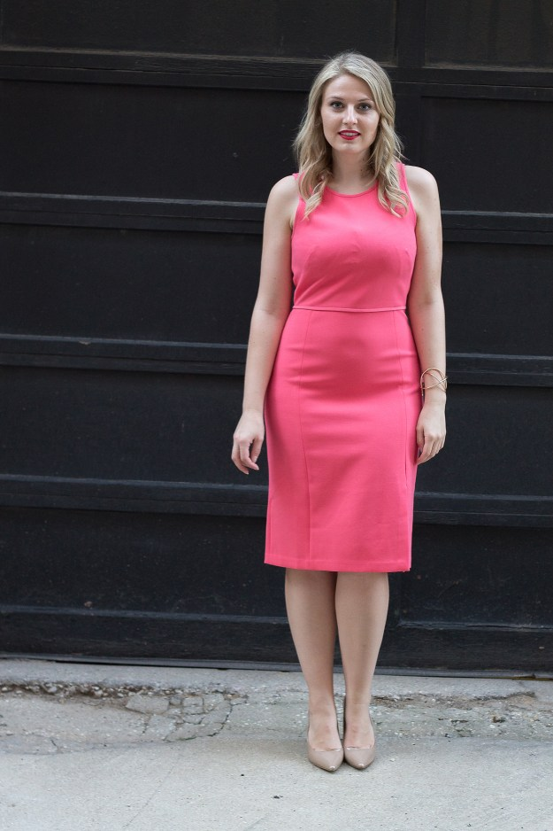 ann taylor dress, ann taylor, work dress, coral, pretty in pink