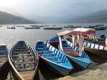 Boats resting at Phewa Lake, Pokhara