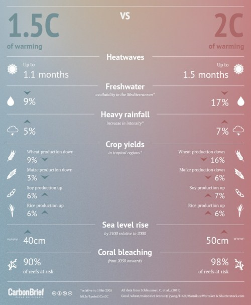 Infographic: How do the impacts of 1.5C of warming compare to 2C of warming?