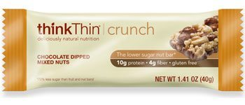 thinkThin Crunch Chocolate Dipped Mixed Nuts Gluten Free Reduced Sugar Protein Bar