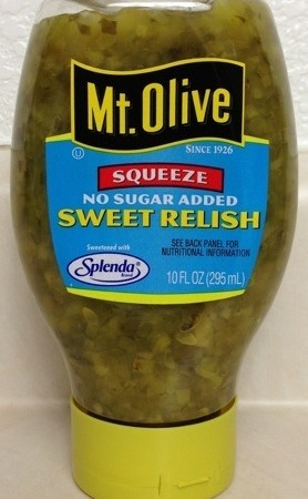 Mt. Olive Squeeze No Sugar Added Sweet Relish with Splenda 10 oz.