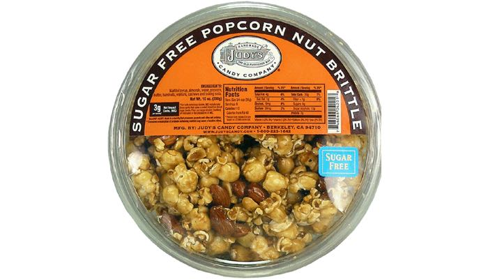 Judy's Candy Co. Sugar Free Popcorn Nut Brittle 10 oz. tub